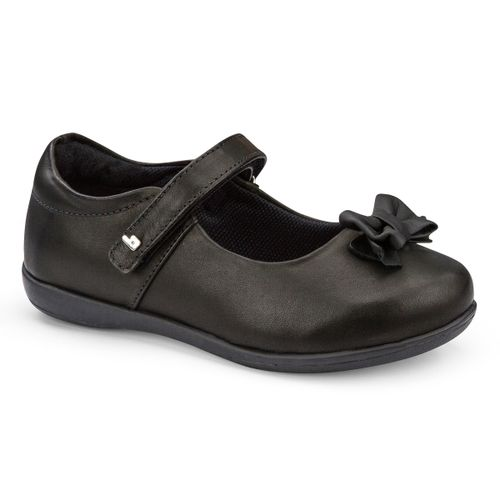 Bibi Girls Leather Ballerina School Shoes With Bow